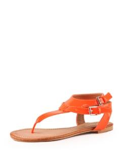 Glossy Orange Sandals - Tresmode