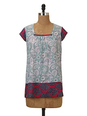 Floral Printed Cotton Kurta With Cap Sleeves - MOTHER HOME