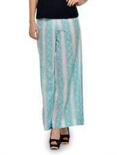 Sky Blue And Grey Floral Print Palazzo - MOTHER HOME
