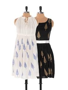 Set Of White Printed Dress And Black Printed Dress - Xniva