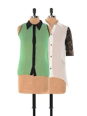 Set Of Monochrome Top And Green Sleeveless Top - Xniva