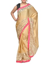 Beige Saree With Pink Border - Aakriti