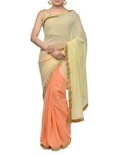Beautiful Orange And White Georgette Half And Half Saree - Aakriti