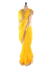Yellow Saree With Sequined Border - Fabdeal