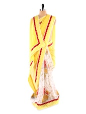 Yellow And White Floral Print Saree - Fabdeal