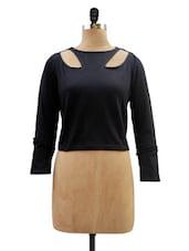 Black Full Sleeved Short Top - Miss Chase