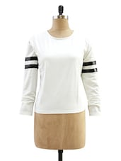 White Top With Striped Sleeves - Miss Chase