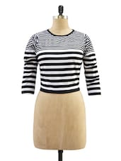 Black And White Striped Crop Top - Miss Chase