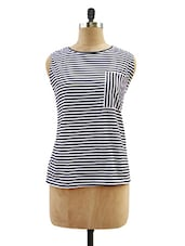 Black And White Striped Cut-sleeved Top - Miss Chase