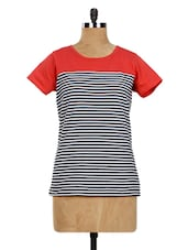 Cotton Knit Striped Short Sleeves Casual Top - Miss Chase