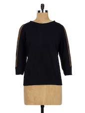 Black Net Sleeve Casual Top - Miss Chase