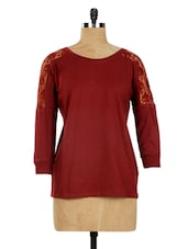 Maroon Lace Sleeves Top - Miss Chase