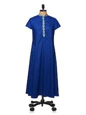 Royal Blue Collared Kurti - Bhama Couture