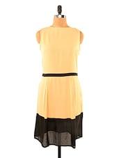 Chic Beige Dress With Black Hem - Missy Miss