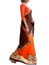 Multi Embroidered And Embellished Georgette Half & Half Saree(Orange,Coffee) - By