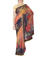 Peach And Grey Faux Georgette Floral Print Saree - By