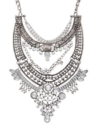 Silver Studded Statement Necklace