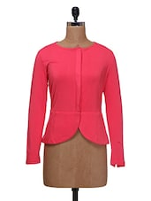 Pink Viscose Jersey Solid Body Fit Jacket - By