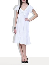 White Gathered And Frilled Knitted Cotton Dress - By