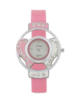 pink embellished leatherette wrist watch