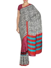 Ethnic Printed White And Mauve Art Silk Saree - By