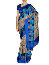Leaf And Square Printed Blue And Beige Art Silk Saree - By