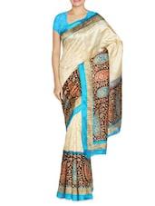 Beige Art Silk Jacquard Printed Sari - By