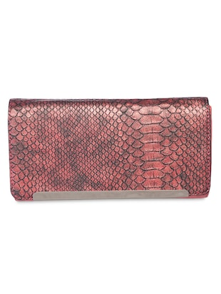 maroon printed leatherette clutch