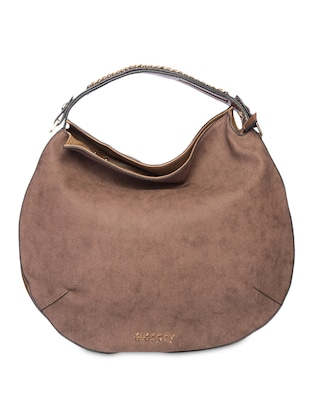Chain Embellished Brown Leatherette Hobo Bag