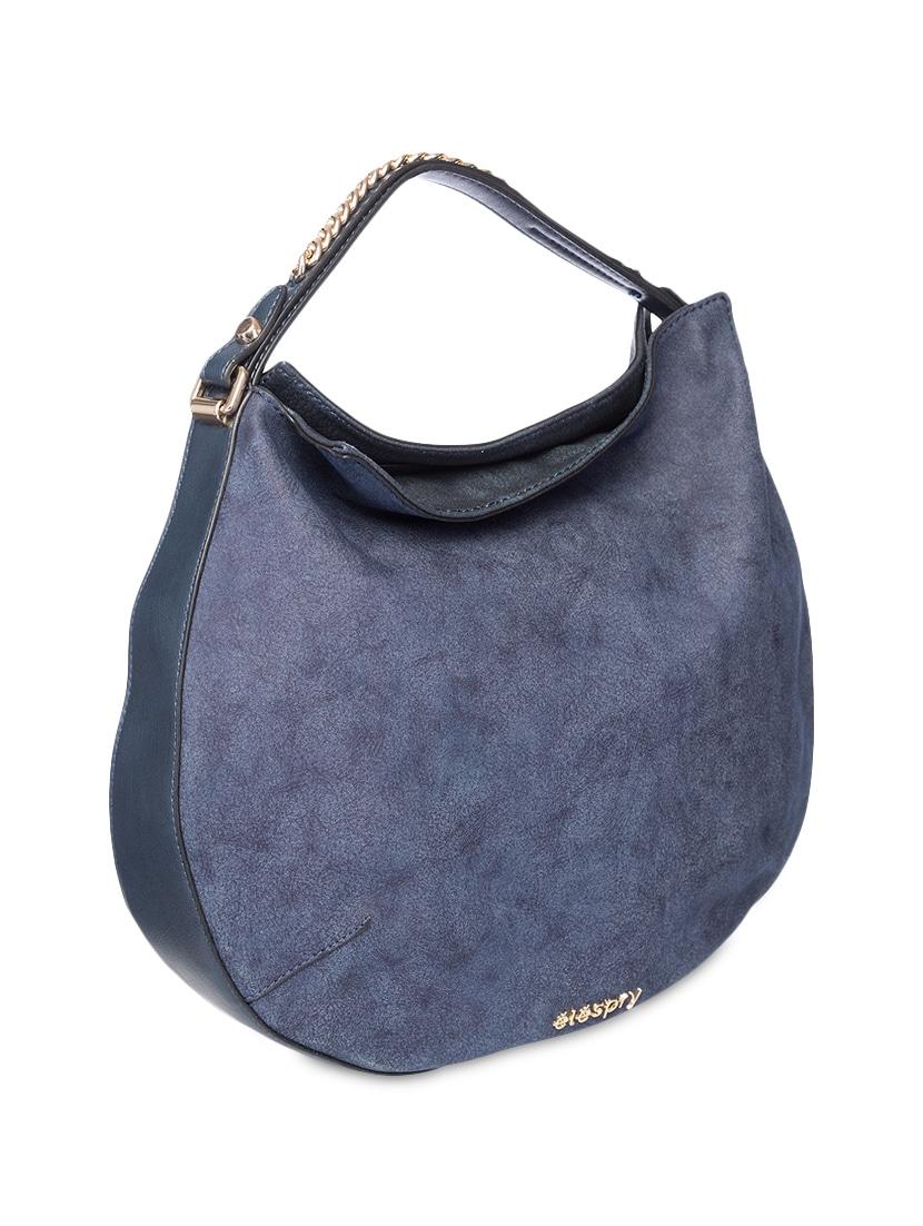 Chain Embellished Navy Blue Leatherette Hobo Bag 9545981 Zoom Image 5