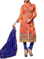 Red Chanderi Silk Embroidered Salwar Suit Set - By
