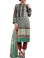 Grey Satin Cotton Embroidered Salwar Suit Set - By
