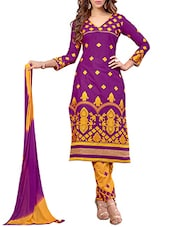 Purple Cambric Cotton Embroidered Salwar Suit Set - By