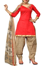 Red Cotton Printed Salwar Suit Set - By