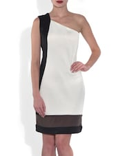 White Lycra One Shoulder Dress - By