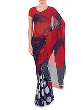 Red And Blue Faux Georgette Printed Saree - By