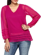 Purple Polyester Chiffon  Long Sleeves Top - By