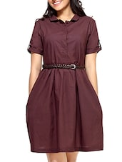 Red Cotton  Short Sleeves Belted Dress - By