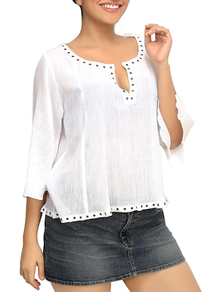 White Cotton  Bell Sleeves Peasant Top