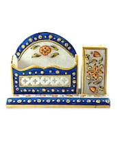 Marble Embossed Ethnic Marble Mobile Stand Pen Stand With Card Holder - Chitrahandicraft