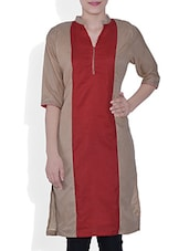 Beige Rayon Kurta With Mandarin Collar - By