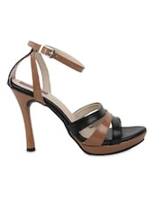 Brown And Black Faux Leather Stilettos Sandals - By