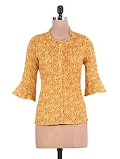 Mustard Printed Cotton Shirt With Pin Tuck Detail - By