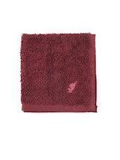 Red Cotton Striped Bordered Face Towel - By