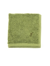 Green Cotton Striped Bordered Face Towel - By