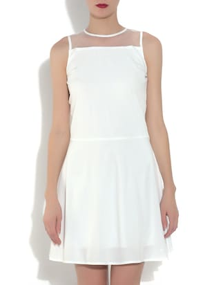 White  Sleeveless A-Line Dress