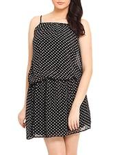Black White Polka Dotted Spagetti Dress - By