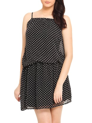 Black White Polka Dotted Spagetti Dress