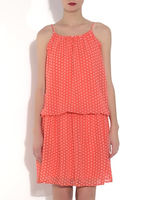 orange Polka Dots Sleeveless Blouson Dress
