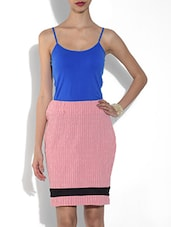 Pink Cotton Striped Pencil Skirt - By